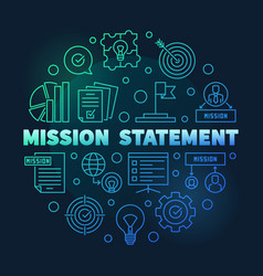 mission statement round blue outline vector image