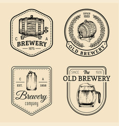 Old brewery logos set kraft beer retro signs or vector