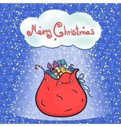 Open bag full of gifts Santa vector image