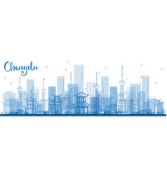 Outline chengdu china city skyline with blue vector