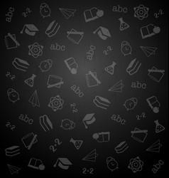 Pattern from school elements on dark chalkboard vector