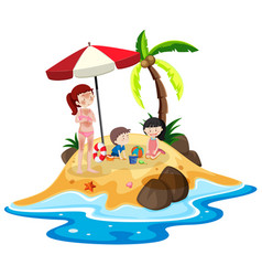 people at island vacation vector image