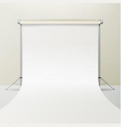 Photo studio empty white canvas background vector