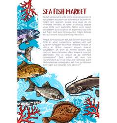 Poster of fish catch for sea food maket vector