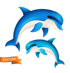 realistic blue dolphin in motion cute jumping vector image