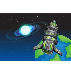 Rocketship flying in the space vector image vector image