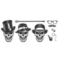 Set of gentlemen skulls vector