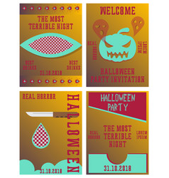 Set of halloween concepts pumpkin and spider web vector