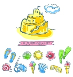 Set of sketch summer icons vector image