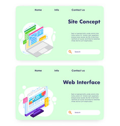 site concept website landing page template vector image