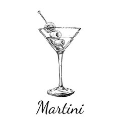 Sketch martini cocktails with olives hand vector