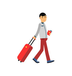 Smiling man tourist character pulling travel vector
