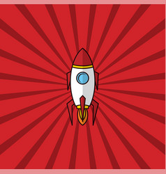 Space ship rocket retro red theme vector