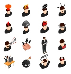 stress icons in isometric 3d style vector image