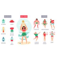 sunstroke infographic female character heatstroke vector image