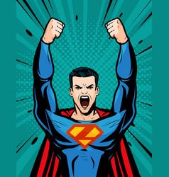superhero strong cartoon in pop art retro comic vector image