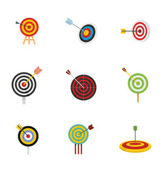 target with arrow icons set flat style vector image