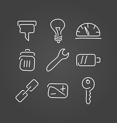 Technical tools set icons draw effect vector