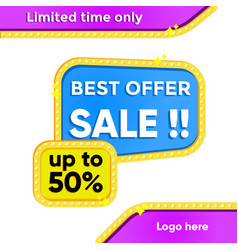 template banner offer sale with frame lamp vector image
