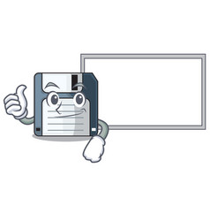 Thumbs up with board cartoon shape in the floppy vector