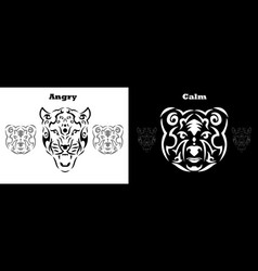 tribal bear and gepard set brown vector image