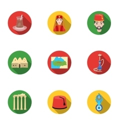 Turkey set icons in flat style Big collection of vector
