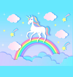 Unicorn cloudsrainbow and stars vector