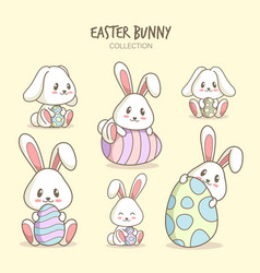 variety cute bunny cartoons vector image