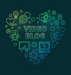 video blog concept green linear heart vector image