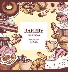 vintage bakery sketch background vector image