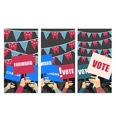 Voters support people with placards vector