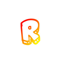 Warm gradient line drawing cartoon letter r vector