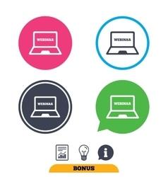 Webinar laptop sign icon Notebook Web study vector