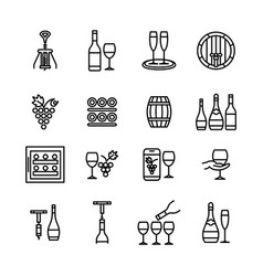 wine icons line art editable stroke set vector image