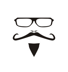 With men face with mustache and glass vector