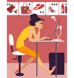 Woman shopping in an online store vector