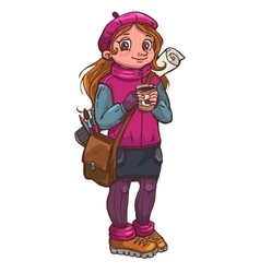 Young artist girl with cup of coffee in her hands vector