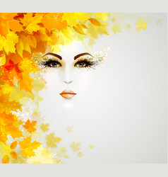 beautiful woman in autumn circle of leaves vector image vector image