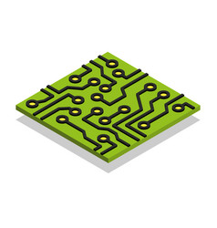 circuit board computer chip isometric isolated vector image vector image