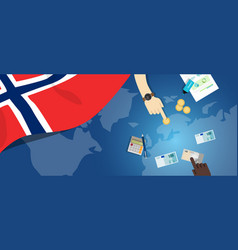 Norway economy fiscal money trade concept vector
