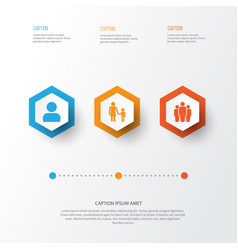 person icons set collection of family user vector image
