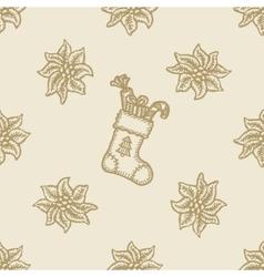 poinsettia christmas flower gift sock pattern vector image vector image