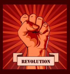 revolution fist creative poster concept vector image