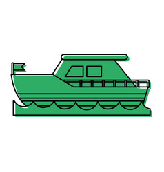ship on water sideview with flag icon imag vector image vector image
