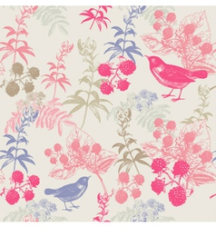 Vintage Birds Berries Pattern vector image