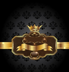 Vintage golden emblem on black floral background vector image vector image