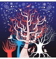 winter tree with birds vector image
