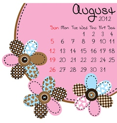 2012 august calendar vector image vector image