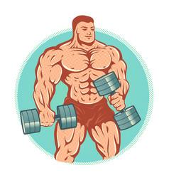 bodybuilder with dumbbells vector image vector image