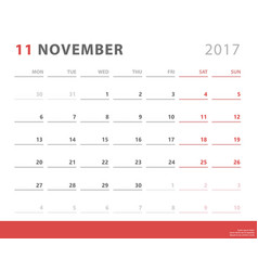 calendar planner 2017 november week starts monday vector image